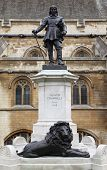 Statue Of Oliver Cromwell At Westminster In London. Oliver Cromwell Is English Revolutionary