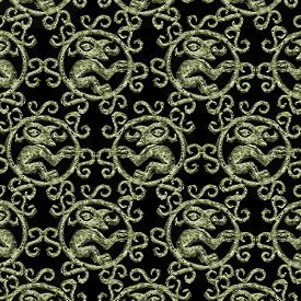 foto of motif  - Digital art grunge textured monsters ornament art motif dark pattern in pale yellow tones and black background - JPG