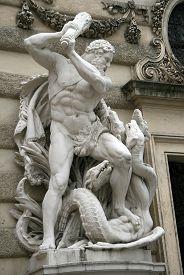pic of hydra  - Hercules fighting the Hydra Hofburg palace Vienna Austria - JPG