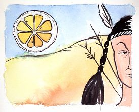 stock photo of peyote  - Watercolor indian and big orange hand drawn  - JPG