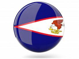stock photo of samoa  - Glossy round icon with flag of american samoa - JPG