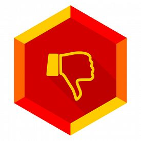 pic of dislike  - dislike flat design modern icon with long shadow for web and mobile app  - JPG