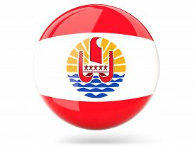 image of french polynesia  - Glossy round icon with flag of french polynesia - JPG