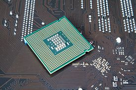 image of cpu  - Central Processing Unit CPU on the motherboard - JPG