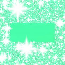 picture of monochromatic  - Digitally rendered stylized monochromatic border of white stars or snowflakes on turquoise - JPG