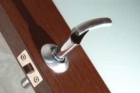 picture of door-handle  - open modern wooden glass door winh handle - JPG