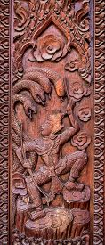 picture of mural  - Murals wood carvings a Buddhist temple in Thailand - JPG