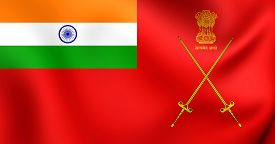 stock photo of indian flag  - 3D Flag of Indian Army - JPG