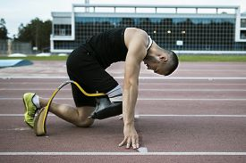 picture of handicapped  - The handicap athlete preparing to start running
