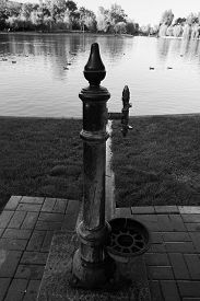 stock photo of scrappy  - Black and white photography old park water fountain scrappy - JPG