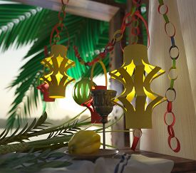 picture of sukkot  - Symbols of the Jewish holiday Sukkot with palm leaves and glass wine 3D illustration - JPG