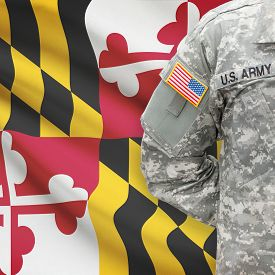 stock photo of maryland  - American soldier with US state flag on background series  - JPG