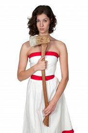 image of possession  - Beautiful possessed woman in a trance holding an axe - JPG