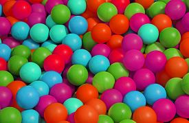 foto of pool ball  - background of many colored plastic balls in a pool for children - JPG