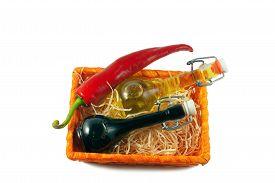 stock photo of red hot chilli peppers  - Two bottles of wine vinegar - JPG