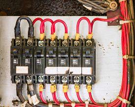 image of breaker  - Main circuit box breaker in factory on background - JPG
