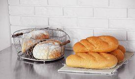 image of bakeshop  - Bread on shelves in store - JPG