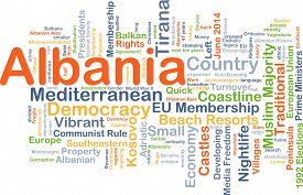 image of albania  - Background concept wordcloud illustration of Albania - JPG
