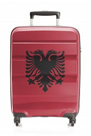 picture of albania  - Suitcase painted into national flag series  - JPG