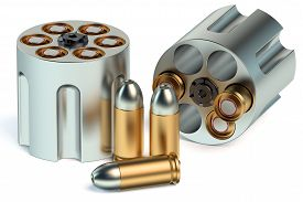 pic of revolver  - Revolver Cylinder with bullets isolated on white background - JPG