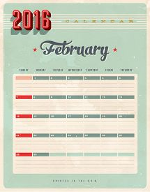 stock photo of february  - Vintage style 2016 Calendar  - JPG