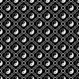 stock photo of yin  - Black and White Yin Yang Tile Pattern Repeat Background that is seamless and repeats - JPG