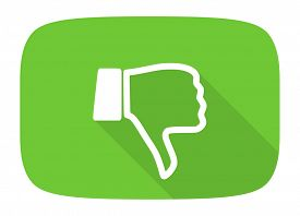 image of dislike  - dislike flat design modern icon with long shadow for web and mobile app  - JPG