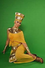 pic of pharaohs  - Portrait of beautiful egyptian woman in costume of the Pharaoh - JPG
