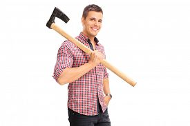 pic of shoulder-blade  - Young guy in a checkered shirt carrying an axe over his shoulder and looking at the camera isolated on white background - JPG