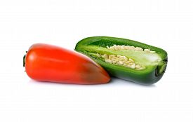 stock photo of jalapeno  - Mexican chili peppers or Jalapenos Chili Peppers on white background - JPG