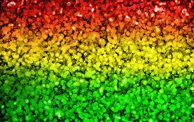 image of reggae  - Green red yellow circle dot bokeh background  - JPG