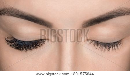 poster of Eyelash Removal Procedure Close Up. Beautiful Woman With Long Lashes In A Beauty Salon. Eyelash Exte