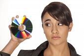 Woman and data disc