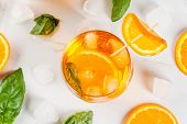 Summer Drink With Orange And Basil poster