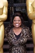 NEW YORK - MARCH 4: Actress/Comedian Sherri Shepherd welcomes two 8-foot golden statues at the New York Palace Hotel for the official New York Oscar night celebration on March 4, 2010 in New York.