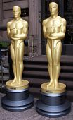 NEW YORK - MARCH 4: Two 8-foot golden statues arrive at GILT at the New York Palace Hotel as part of