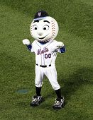 FLUSHING, NY - AUGUST 15: New York Mets mascot, Mr. Met conducts the 7th inning stretch at Citi Fiel