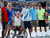 FLUSHING, NY - AUGUST 28: Kim Clijsters, Esther Vergeer, Quddus, Roger Federer, Rafael Nadal attend Arthur Ashe Kids Day at Billie Jean King National Tennis Center on August 28, 2010 in New York City.