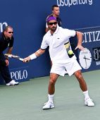 FLUSHING, NY - SEPTEMBER 4: Anaud Clement (FRA) returns a volley during men's singles at the US Open Tennis Tournament at Billie Jean King National Tennis Center on September 4, 2010 in Flushing, NY.