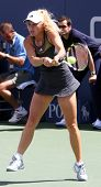 FLUSHING, NY - SEPTEMBER 4: Caroline Wozniacki returns a volley during womens singles at the US Open Tennis Tournament at the Billie Jean National Tennis Center on September 4, 2010 in  Flushing, NY.