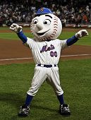 FLUSHING, NY - SEPTEMBER 15: New York Mets mascot, Mr. Met, during a baseball game at CitiField ball