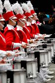 NEW YORK - NOVEMBER 25: Marching band drummers attend the 84th Macy's Thanksgiving Day Parade on Nov