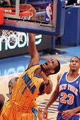 NEW YORK - MARCH 2: New Orleans Hornets forward Trevor Ariza (1) dunks a basket against the New York