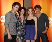 LOS ANGELES - MAY 14: Grey Damon, Amy Pietz, Skyler Samuels, Benjamin Stone at the Disney ABC Television Group May Press Junket 2011 at ABC Building on May 14, 2011 in Burbank, CA