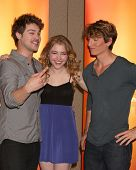 LOS ANGELES - MAY 14:  Grey Damon, Skyler Samuels, Benjamin Stone at the Disney ABC Television Group May Press Junket 2011 at ABC Building on May 14, 2011 in Burbank, CA