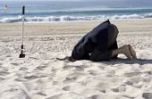 stock photo of unawares  - Businessman doing his upmost to avoid the business day by burying his head in the sand - JPG