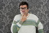 nerd pensive silly man retro wallpaper glasses tacky guy