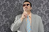 nerd businessman pensive gesture silly funny retro wallpaper background