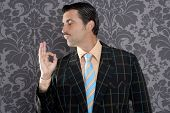 nerd retro man businessman ok positive hand gesture wallpaper background