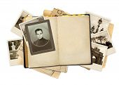 Grunge background with old notebook and photos
